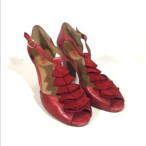 Miz Mooz Red Sailor Leather Heels